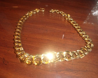 vintage necklace goldtone chain open link monet