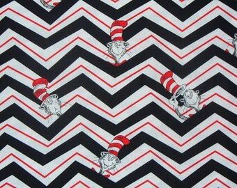 The Cat in the Hat Fabric, Dr Seuss, Chevron Style,Childrens Books, Cat in Hat, By the Yard