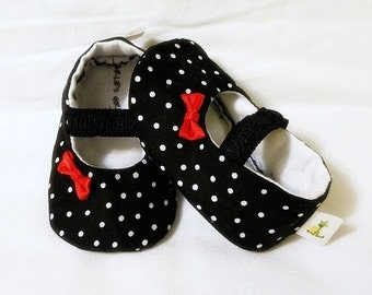 Polka Dot Mary Janes - Black & White Mary Janes - Newborn, Infant, Baby Slippers, Crib Shoes, Footwear