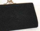 50s Corde Purse Black Corde Clutch Vegan Friendly Purse Black Cocktail Clutch 1950s Black Clutch Black Fabric Clutch Small Black Clutch