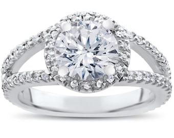 2.75 Halo Diamond Split Shank Engagement Ring 14K White Gold
