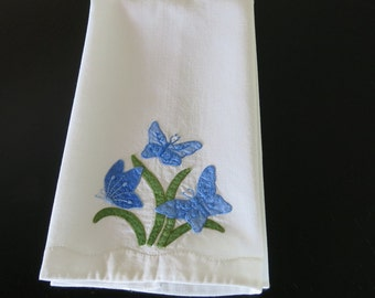 Vintage Tea Towel White Cotton Blue Butterfly Flower Applique 68b