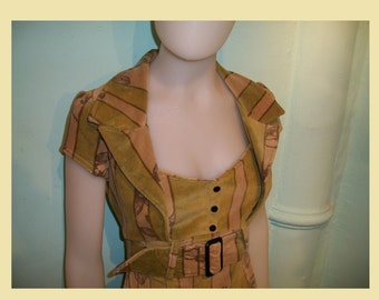 """SALE- M and L Cotton velvet stretch """"pin-up"""" dress in light green, beige and brown."""