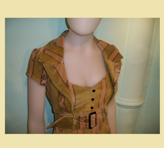 """SALE- M to XL Cotton velvet stretch """"pin-up"""" dress in light green, beige and brown."""