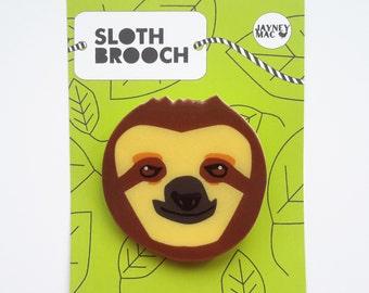Sloth Shrink Plastic Brooch Pin