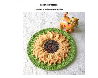 Sunflower Potholder Crochet Pattern - Instant Download PDF Pattern - Kitchen Hot Pad Pattern - Flower Pattern