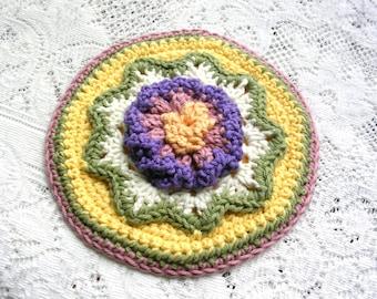 Round Flower Potholder - Crochet Flower Hot Pad - Retro Kitchen Decor - Round Cotton Crochet Potholder