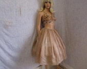 "50s 25"" Sheer Silk Organza Skirt Taupe Beige"