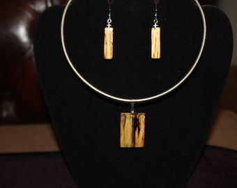 Spalted Oak Jewelry Set Earrings and Pendant/Slide/Necklace