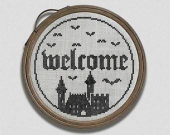 PDF NEW Welcome to My Castle Halloween cross stitch pattern by Dark Crosses at thecottageneedle.com Haunted House embroidery