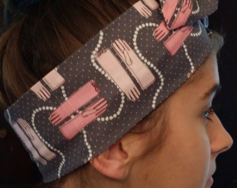 Wired Grey and Pink Head Wrap