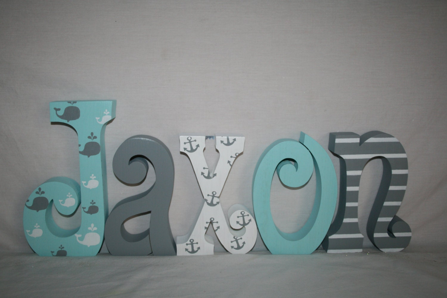 Whale themed nursery decor nautical wood letters 5 letter for Decoration 5 letters