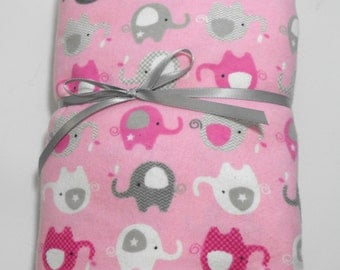 Flannel Fitted Sheet Pink Elephants for Standard Crib or Standard Toddler Beds