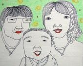 4 person custom portrait