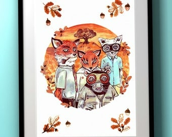 Wes Anderson: Fantastic Mr Fox - Fantastic Wild Animals A4 Print