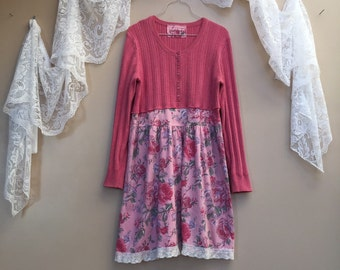 Upcycled Pink Sweater Dress, Vintage Pink Roses and Crochet Lace Tunic, Shabby Chic Sweater