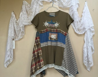 Upcycled Boho Chic Tattered Patriotic dress 4th of July T-shirt dress, Army Green Plaid Patchwork Gypsy Dress