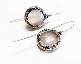 One of A Kind Rose  Quartz in Sterling Silver Earrings. Organic Earrings. Handmade Jewelry. Made to Order
