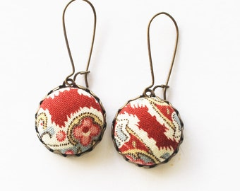 Textile dangle earrings, red and blue, fabric earrings, textile jewelry, fabric jewelry, gift for girl, girl gift, button earrings