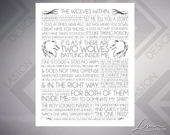 Wolves Within: A Native American Tale of Two Wolves Print - 2 VERSIONS - 8x10, 11x14, 16x20, 20x24, 24x30