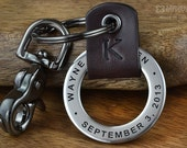 Mens Anniversary Gift, Boyfriend Gift, Fiance Gift, Save the Date Keychain - Mens Personalized Leather Keychain - Any text up to 35 Char