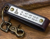 Personalized Leather State Keychain with Heart, Personalize with Text or a set Custom GPS Coordinates