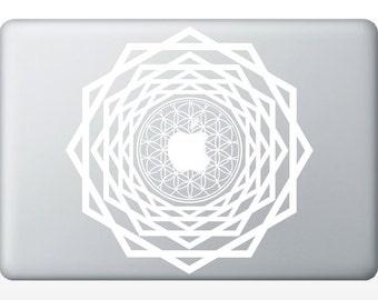 Flower of Life tunnel laptop DECAL- macbook iPad computer- vinyl sticker - Sacred Geometry - Rainbow Holographic
