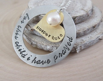Adoption Jewelry, Mother's Day Gift, For this Child I have Prayed, Personalized Jewelry, Happy Gotcha Day, Welcome Home, New Mom Gift, Mom