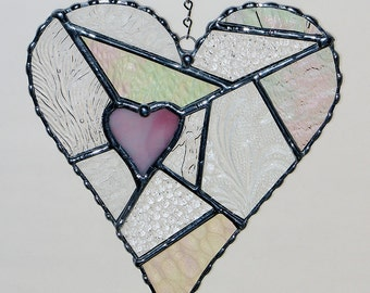 Stained Glass - Love, Freestyle Heart Abstract with Clear Textured Glass, Valentine's Day Gift
