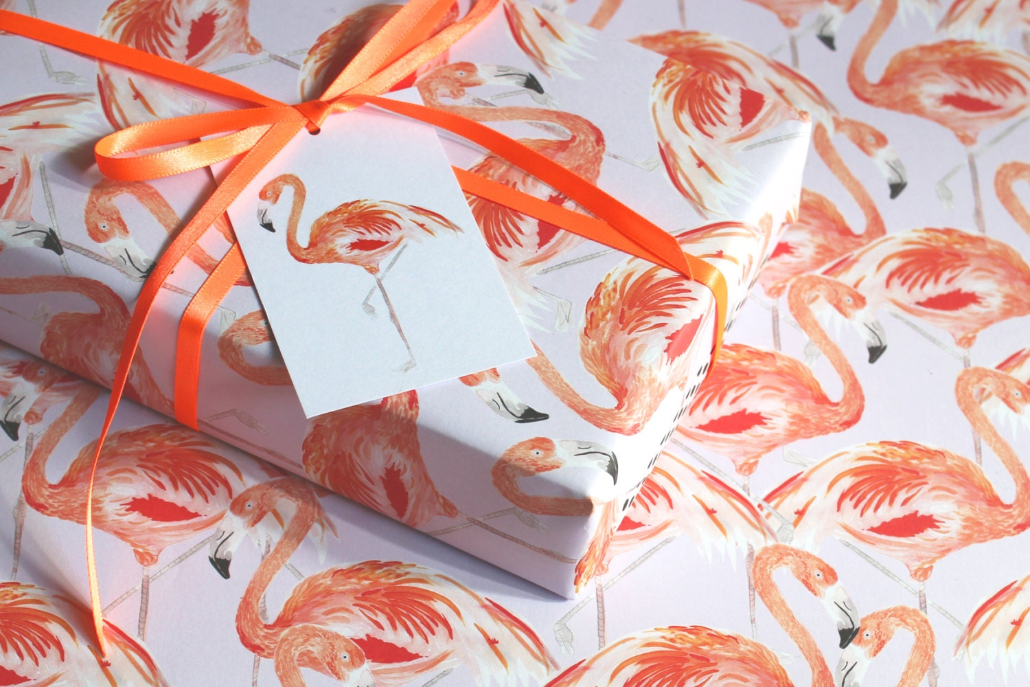 Flamingo Eco Wrapping Paper - blank inside - beautifully illustrated gifts - eco friendly stationery - greetings cards - made in the UK