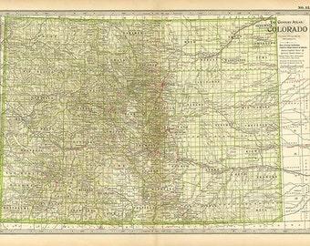 COLORADO U.S.A. MAP 1897 - Century Atlas  book page 53