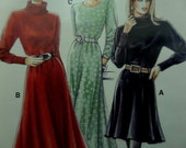 MOCK TURTLENECK DRESS Pattern • Neue Mode 22056 • Miss 10-20 • Knit Dress • Blouson Dress • Ribbed Cuffs • Modern Patterns • WhiletheCatNaps