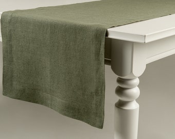 Green table runner, Moss green linen table runner