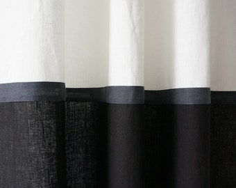 Linen curtains Color block curtains Black and white curtains Blackout curtains Lined curtain panel Custom linen curtains Linen window drapes