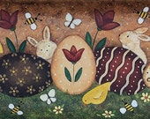 Easter Folk Art Painting Primitive Tray, Primitive Pastel Colors, Rectangular Wood Tray,  Eggs, Bunnies, Chicks, Butterflies MADE TO ORDER
