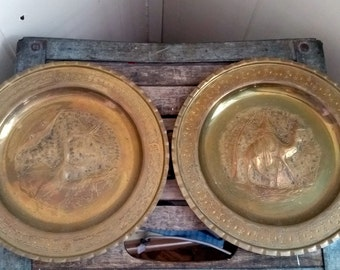 Vintage Brass Plate Wall Hangings Pair, Made in Tripoli, Libya, Africa, 1960s, Desert Scenes
