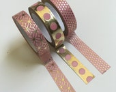 "Glam Planner Washi Tape Set 3 GOLD and PINK Decorative craft tapes lot 5yrds/roll crafts Metallic Foil Dots Patterned ""Blush Glam"" planners"