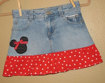 Minnie Mouse skirt -girls size -10 only -  upcycled  -refab - Disney Vacation- Ready to Ship