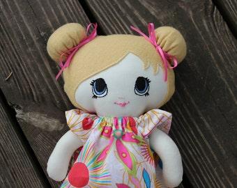 "CUSTOM,Teagan, Handmade cloth doll 13"" Little Sister, Dress up doll, Best friend, Gift"