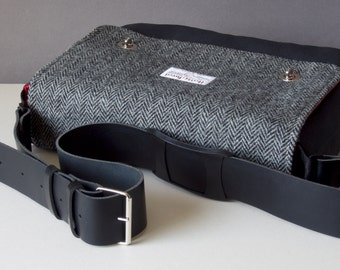 Messenger Bag with shoulder strap - Tweed and Cotton satchel for Tablet, Camera, eReader, Laptop