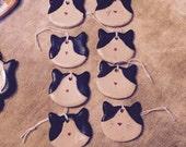 Tuxedo Cat Ornaments pottery calico