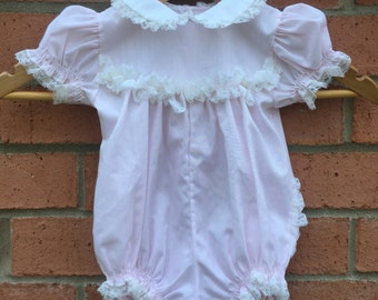 Little Girl Pale Pink & White Lace Onesie Romper