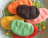 Jelly Bean Dog Treats - all natural peanut butter and carrot cookies topped with yogurt icing - large jelly beans - easter - candy