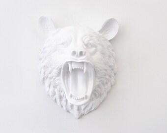 Faux Taxidermy - Fierce White Bear Wall Mount -Roaring Bear Faux Taxidermy OMBE01