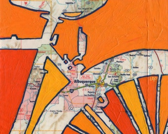 Bike Albuquerque, New Mexico-bicycle art print of map painting 13x13 print
