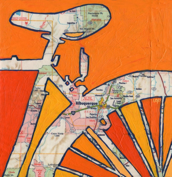 Painter Albuquerque Home Commercial Painting: Bike Albuquerque New Mexico-bicycle Art Print Of Map Painting