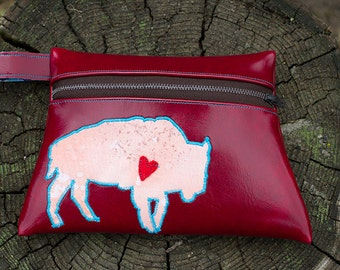 Buffalo Totem Red Vinyl Pouch