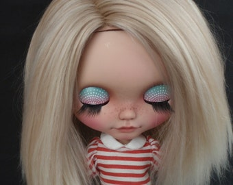 Make to order/ Alpaca/Doll hair/  Suri Alpaca hair/ rerooting scalp/ for Blythe Doll in Very Light londe 2 tone 6-7  inches