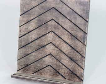 Engraved Wooden Tablet Stand, Cookbook Stand - Chevron, Distressed, Nantucket Stain