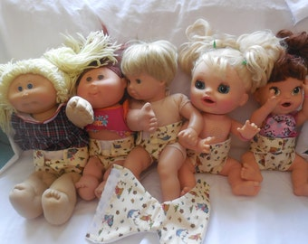 Ready to Ship #2 Pooh Bear cloth Doll Diaper adjusts washable fits bitty baby some baby alive all gone American Girl doll & stuffed animals
